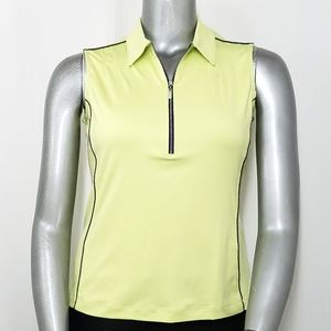 TAIL Top Sleeveless Athletic Polo Zip Stetch Neon